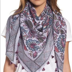 NWT Hinge vintage blooms square silk scarf